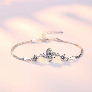 NEW 925 Sterling Silver Diamond Clover Bracelet